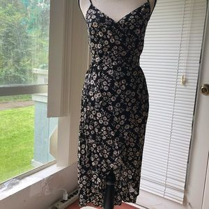 NWOT Wrap Sundress (Blk & Taupe) S